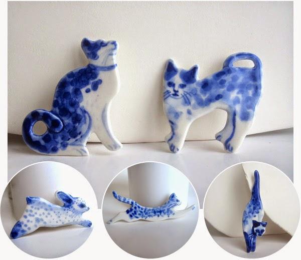 Unique hand painted porcelain Delft pieces by Harriet Damave