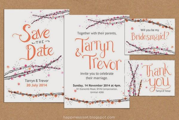Durban-based wedding stationery - hand lettering and original illustrations