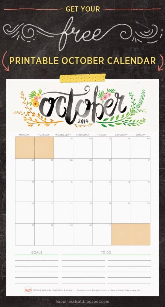 Happiness is... October 2014 Free Printable Calendar