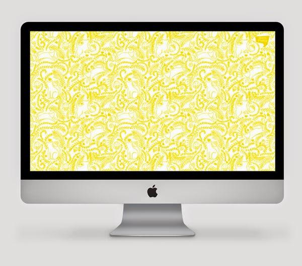 Happiness is... Free Desktop Wallpaper, illustrated cats and florals pattern, for HelloPretty and WDC2014