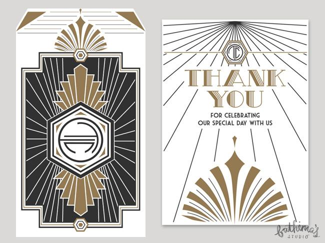 Great Gatsby art deco themed wedding stationery