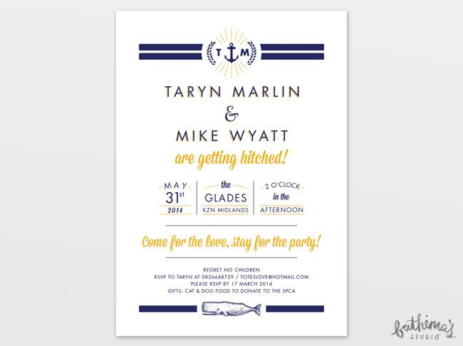 nautical typographic wedding stationery - invitation