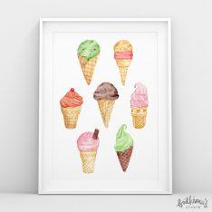 watercolour ice cream art print