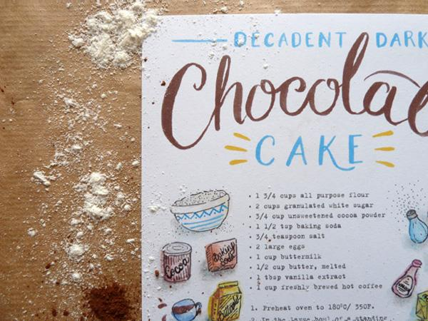 Illustrated Recipes - chocolate cake