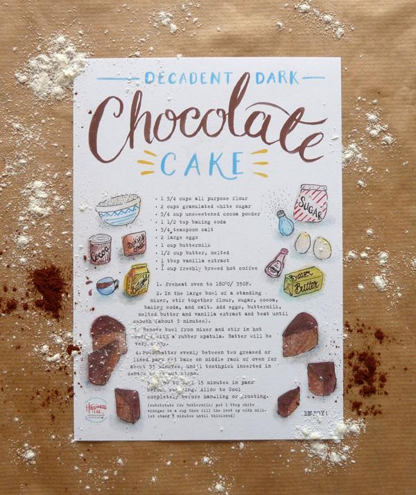 Illustrated Recipes - chocolate cake