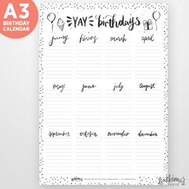 Birthday Calendar.Yay Birthdays A3 Birthday Calendar