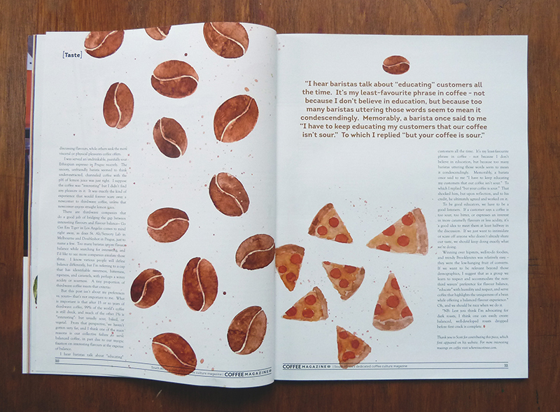 Editorial Illustration and Hand Lettering for The Coffee Magazine