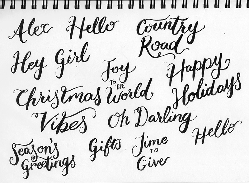 Live Lettering at Country Road Christmas Event